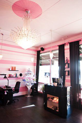 pink black salon. salons nail