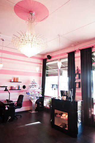 Pink Black Salon Nail Decor Beauty Hair Interior