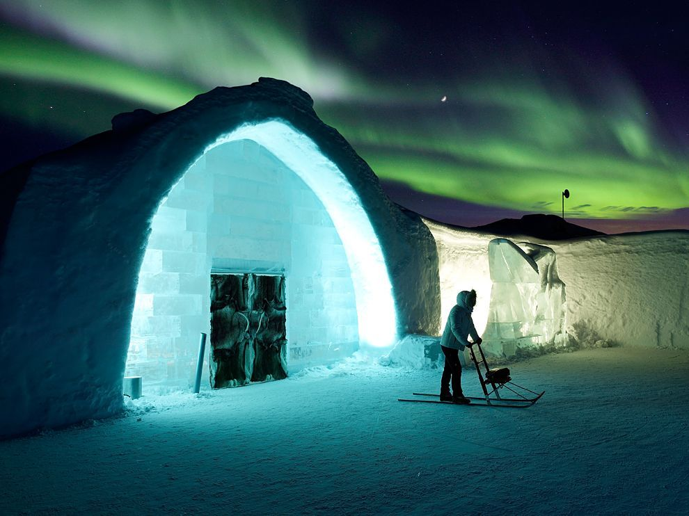 Ice Hotels Picture Of A Woman Outside An Hotel Under Northern Lights Sweden