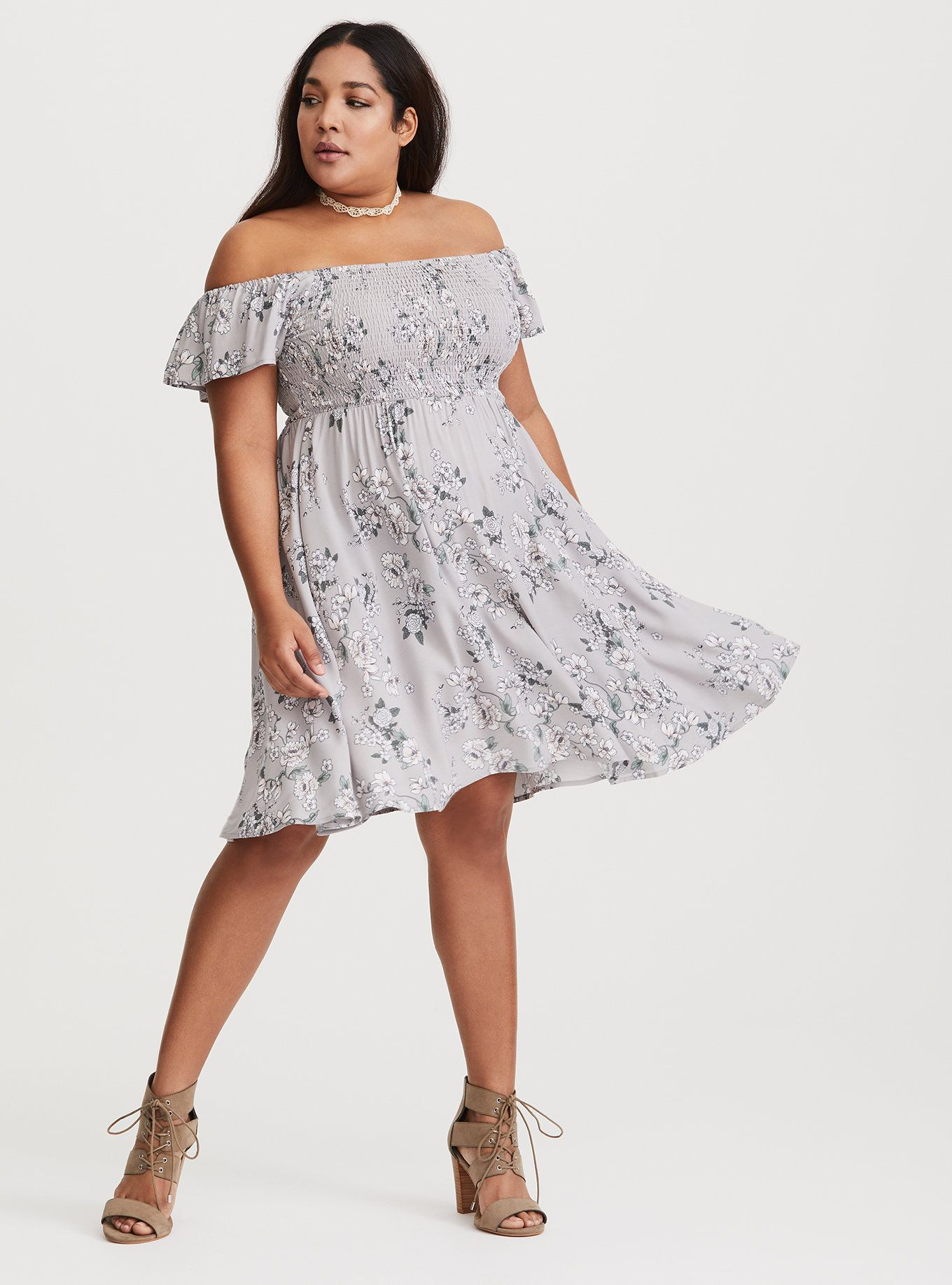 Grey floral smocked challis dress flutter sleeve perfect fit and