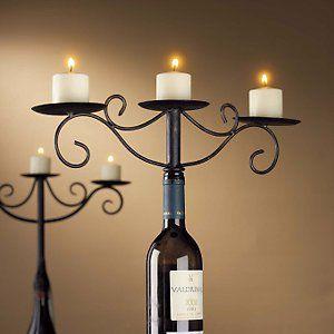 Wine Bottle Candelabra - Antiqued Finish