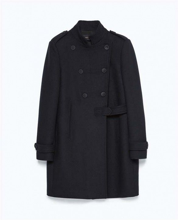 Zara Double-Breasted Military-Style Coat