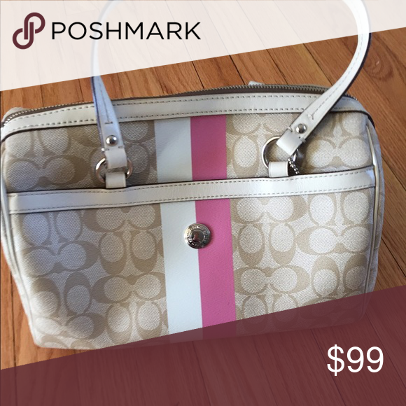 Coach Handbag Coach Handbag with pink and white stripe Coach Bags Shoulder Bags