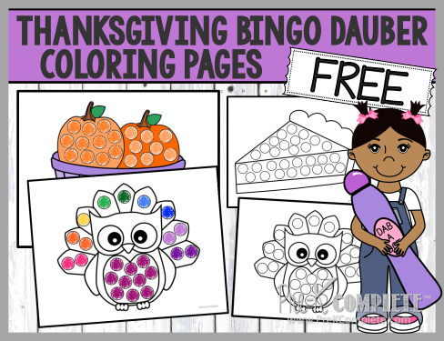 Thanksgiving Bingo Dauber Coloring Pages PreK Blog