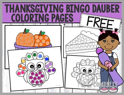 Thanksgiving Bingo Dauber Coloring Pages PreK Blog