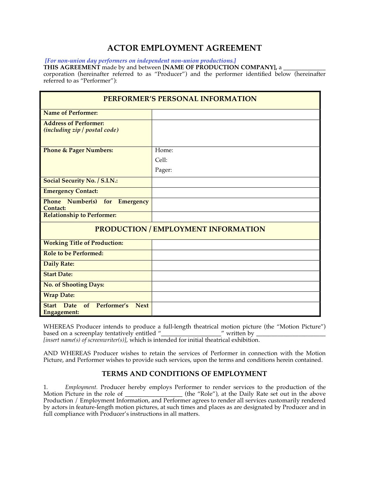 Actor Employment Agreement For NonUnion Day Performers HttpWww