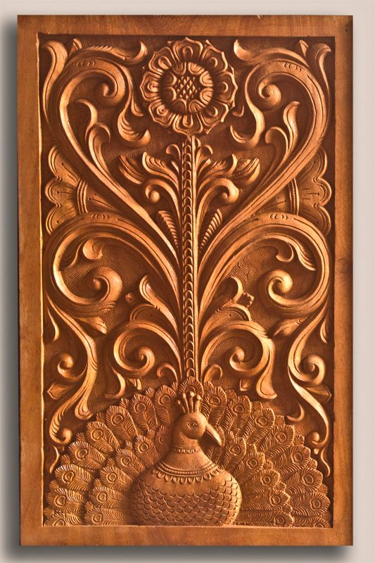 Wood Carving Images Door Panel In Sophisticated Peacock And Creeper Designs