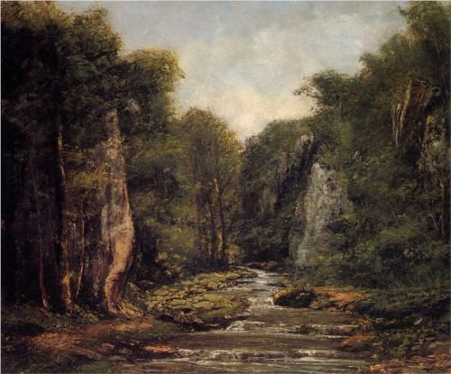 The River Plaisir Fontaine - Gustave Courbet