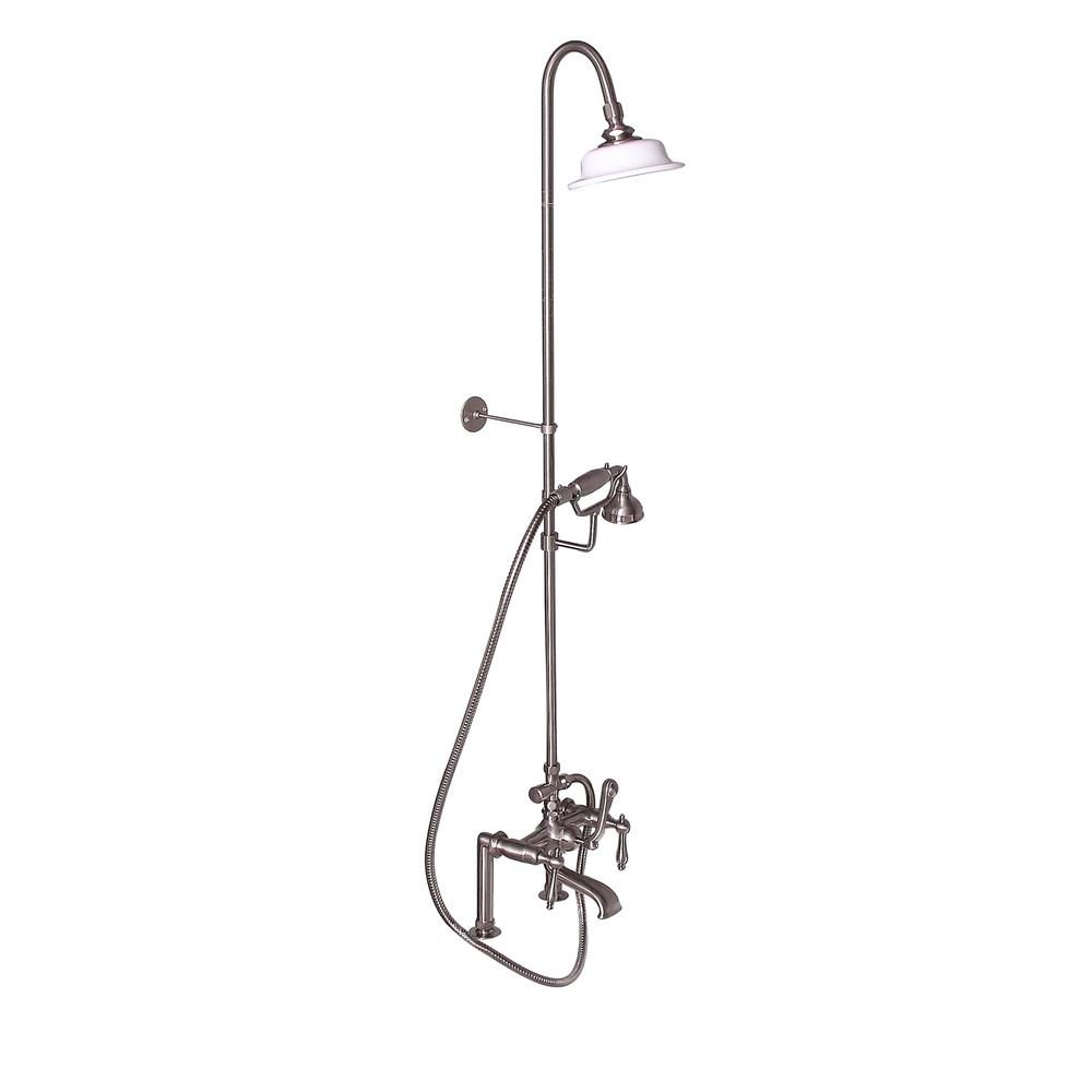 barclay products 3handle rim mounted claw foot tub faucet with riser hand shower