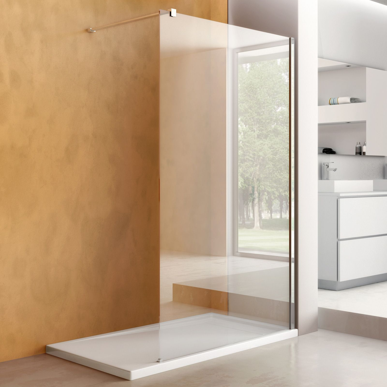 Parete Walk in 100 cm box doccia design in cristallo