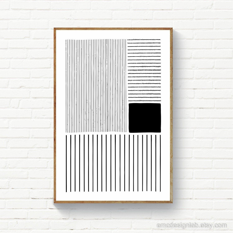 Minimalism Black & White Lines / Minimalist Print / Digital | Etsy