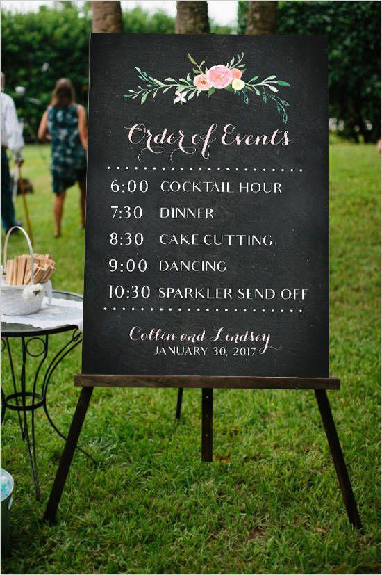 Order Of Events Wedding.Order Of Events Wedding Poster Printable File Chalkboard Design