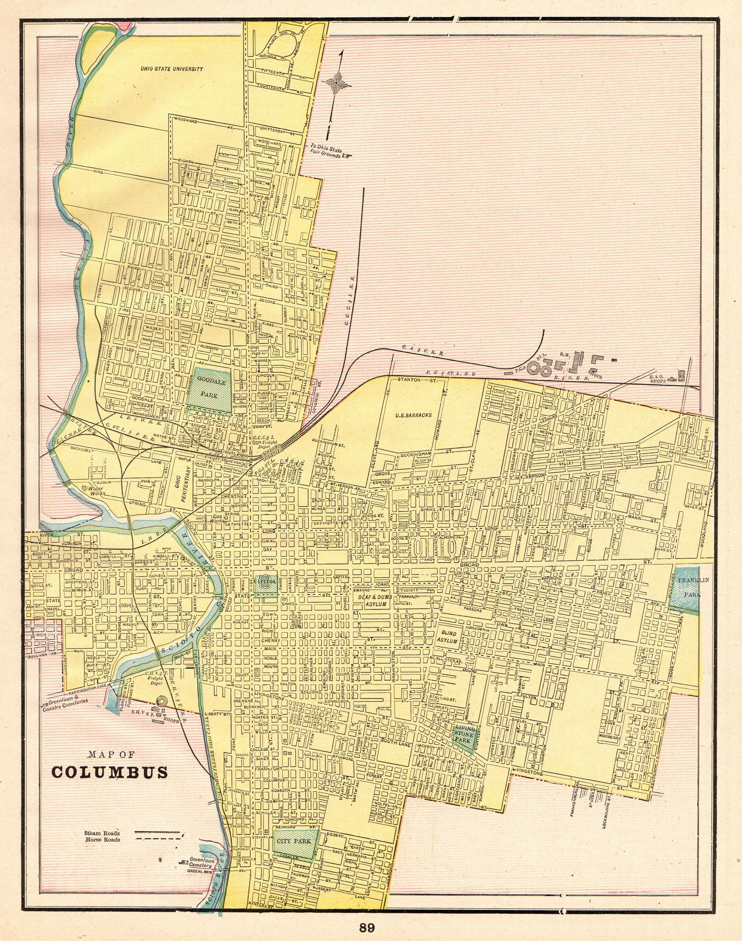 1892 Antique COLUMBUS Ohio Map Vintage City Map Print Gallery Wall ...