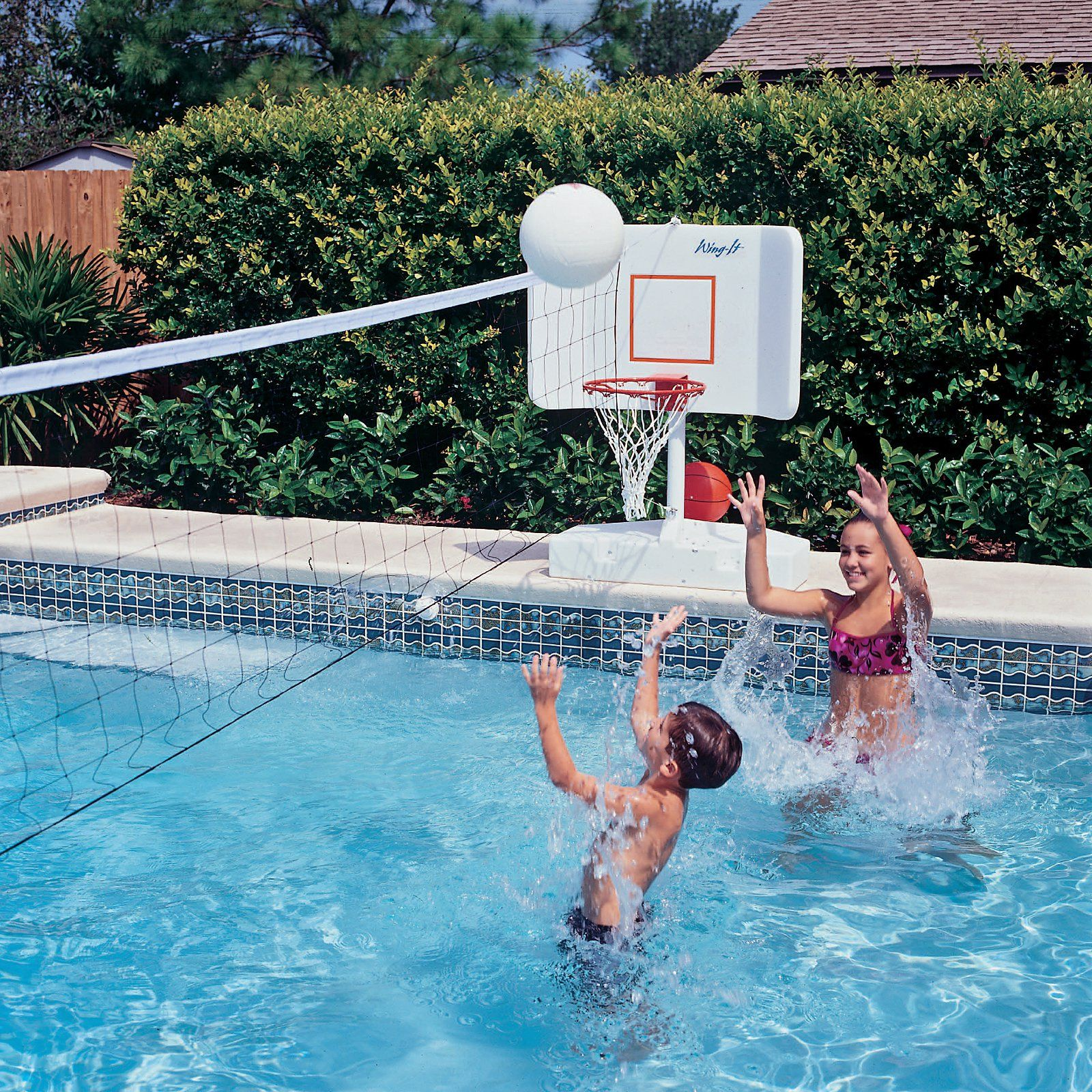 Swimming Pool Basketball And Volleyball Combo Set 46750 Wiss 127 Pool Volleyball Net Pool Basketball Pool