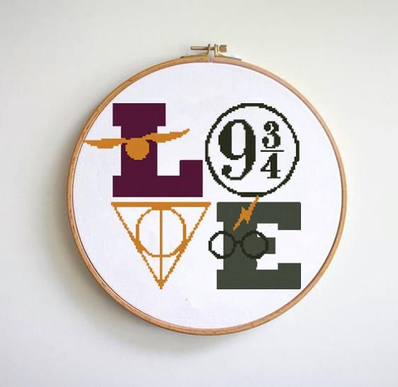 Photo of Love cross stitch pattern easy counted cross stitch chart always magic symbols wizards hoop art Cross Stitch Pattern(Digital Format – PDF)