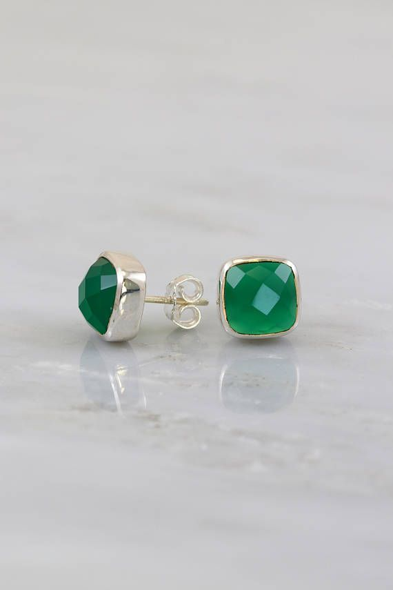 27de47258 Green Onyx Stud, Emerald Post Stud, Silver Stud, Green Gemstone Post Stud,  Everyday Work Studs, Birthstone Stud Earring, Tiny Stone Stud