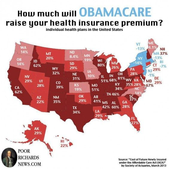 How Much Is Obamacare Really Going To Raise Your Premiums A State By State Map Health Insurance Obamacare Insurance Premium