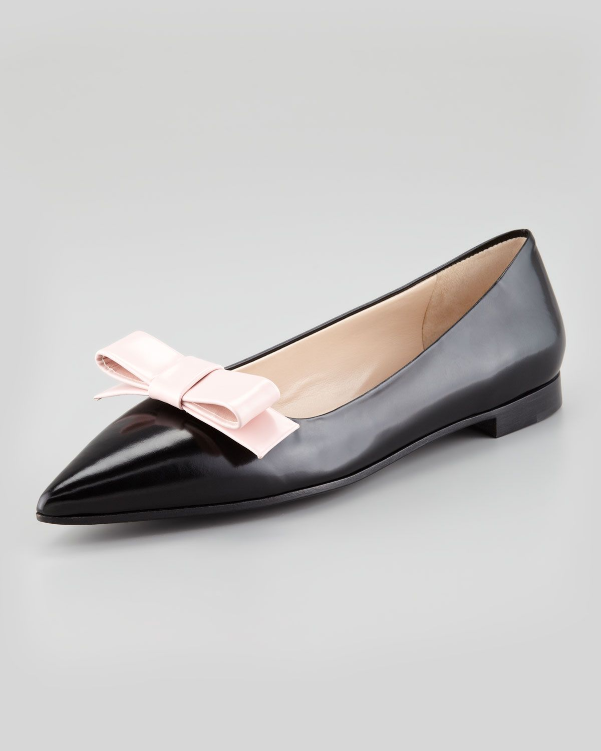 bbe7943c229  Prada Bicolor Pointed-Toe Bow Flat