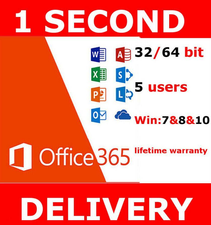 Instant Microsoft Office 365 2016 2019 Pro Key Pc Mac Windows 5tb 5user Unbranded Microsoft Office Office 365 Ms Office 365