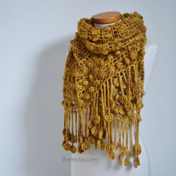 Crochet Shawl Mustard Golden Yellow P512 Inspiration