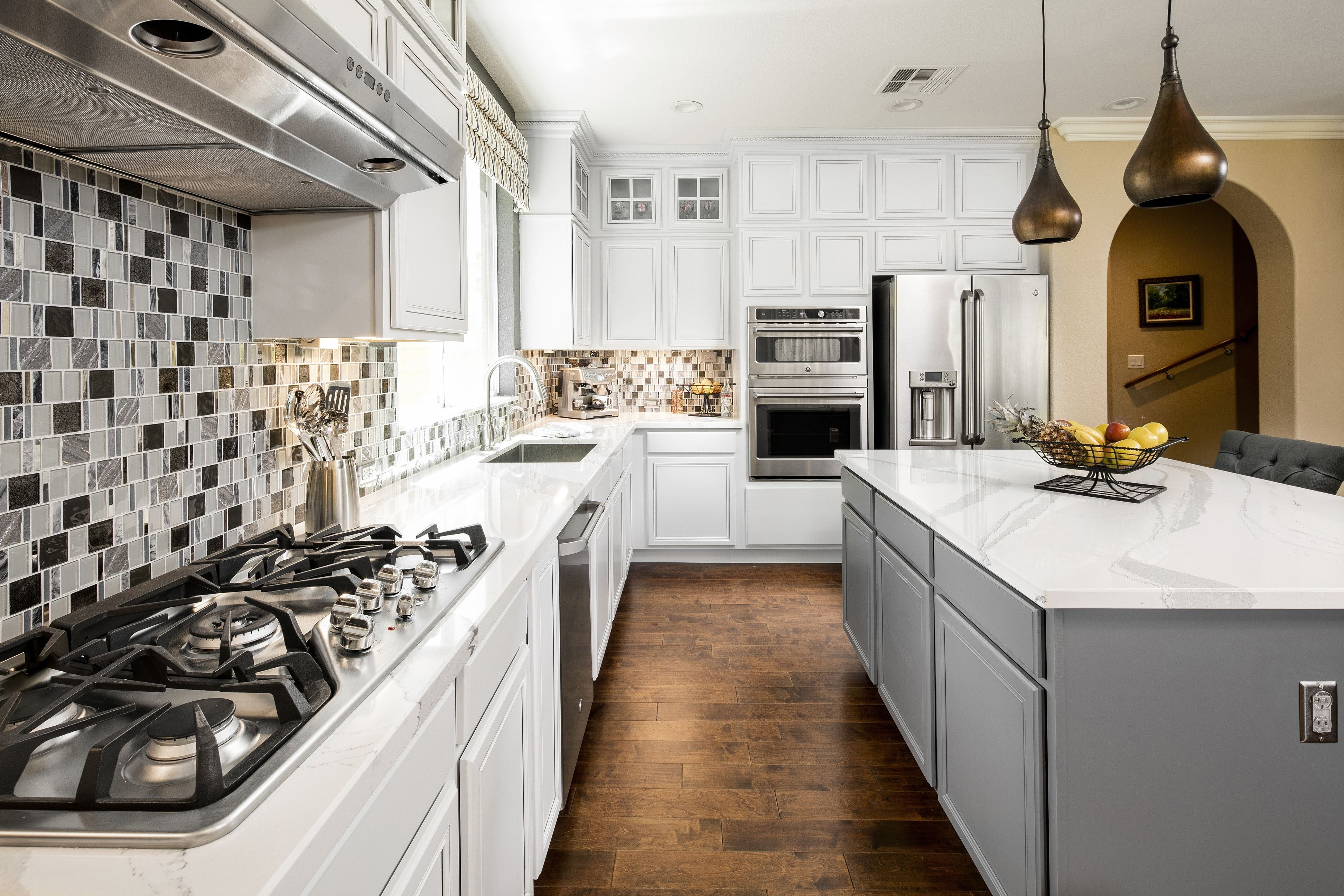 Bright and open kitchen redesign with contemporary accent lighting ...