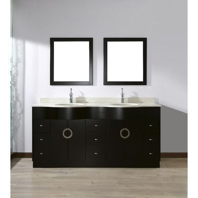 "Bauhaus Bath Zed 72"" Double Bathroom Vanity Set with Mirror Top Finish: Nougat Quartz Top"