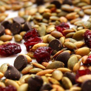 Roasted Pepitas (Pumpkin Seeds), Cranberries, and Chocolate Mix