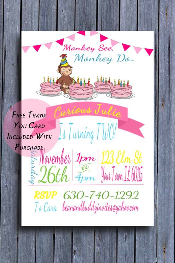 Girls Curious George Birthday Party Invitation Girls Curious George