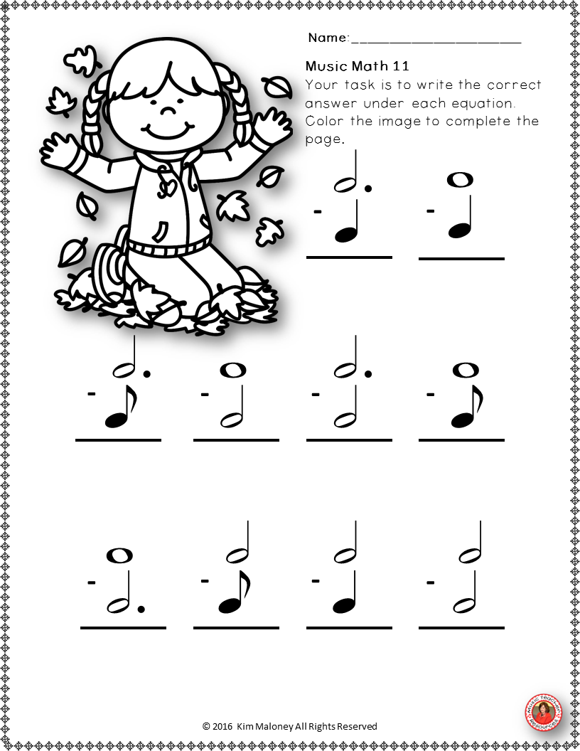 Music Worksheets Music Math With A Fall Autumn Theme 24 Music Worksheets Aimed At Reinforcing Students Underst Music Math Fall Music Lesson Music Activities