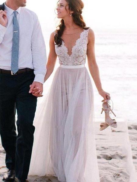 Deep V Neckline Lace Beach Wedding Dresses, Sexy Long Custom Wedding Gowns, 17104