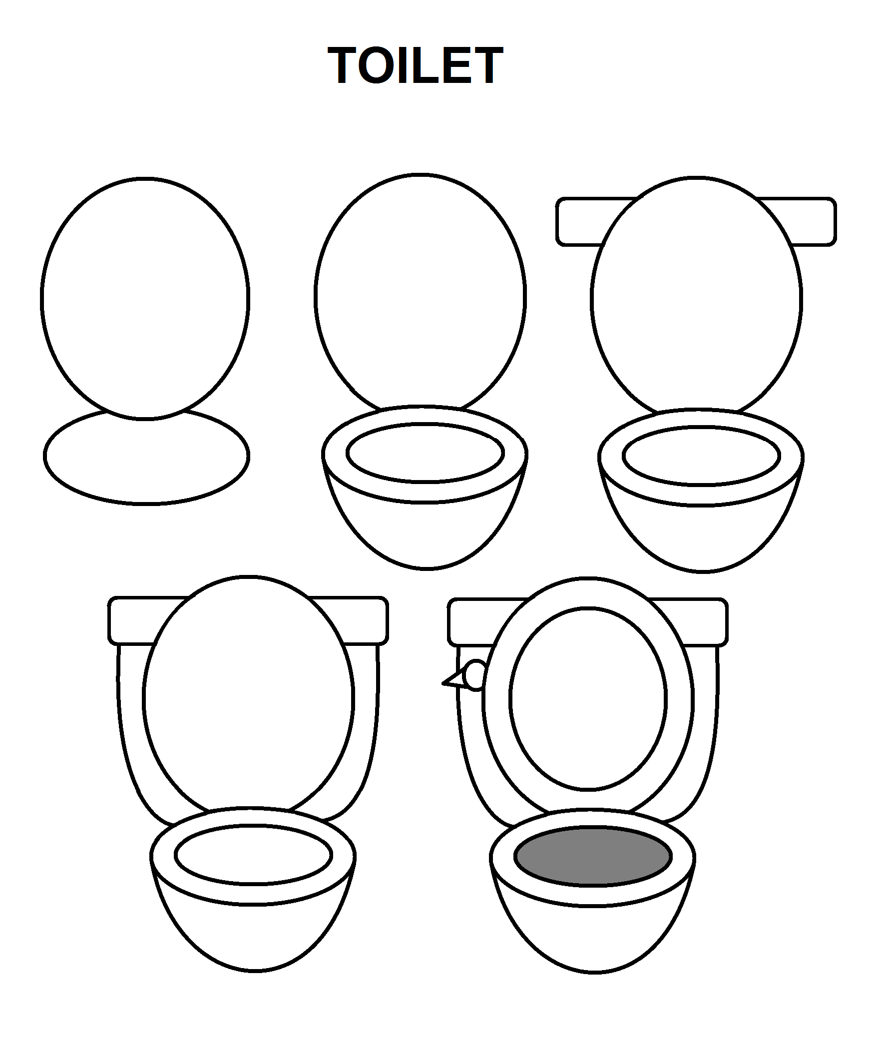 Step By Step To Draw A Toilet