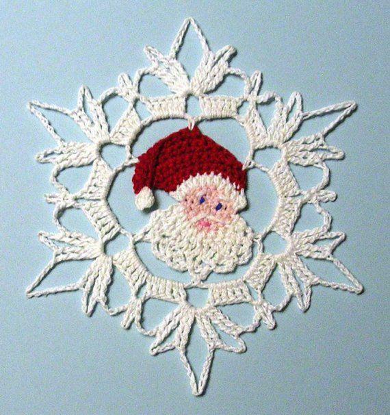 Faden häkeln Santa Schneeflocke von PetalsnMore auf Etsy | Häckeln ...