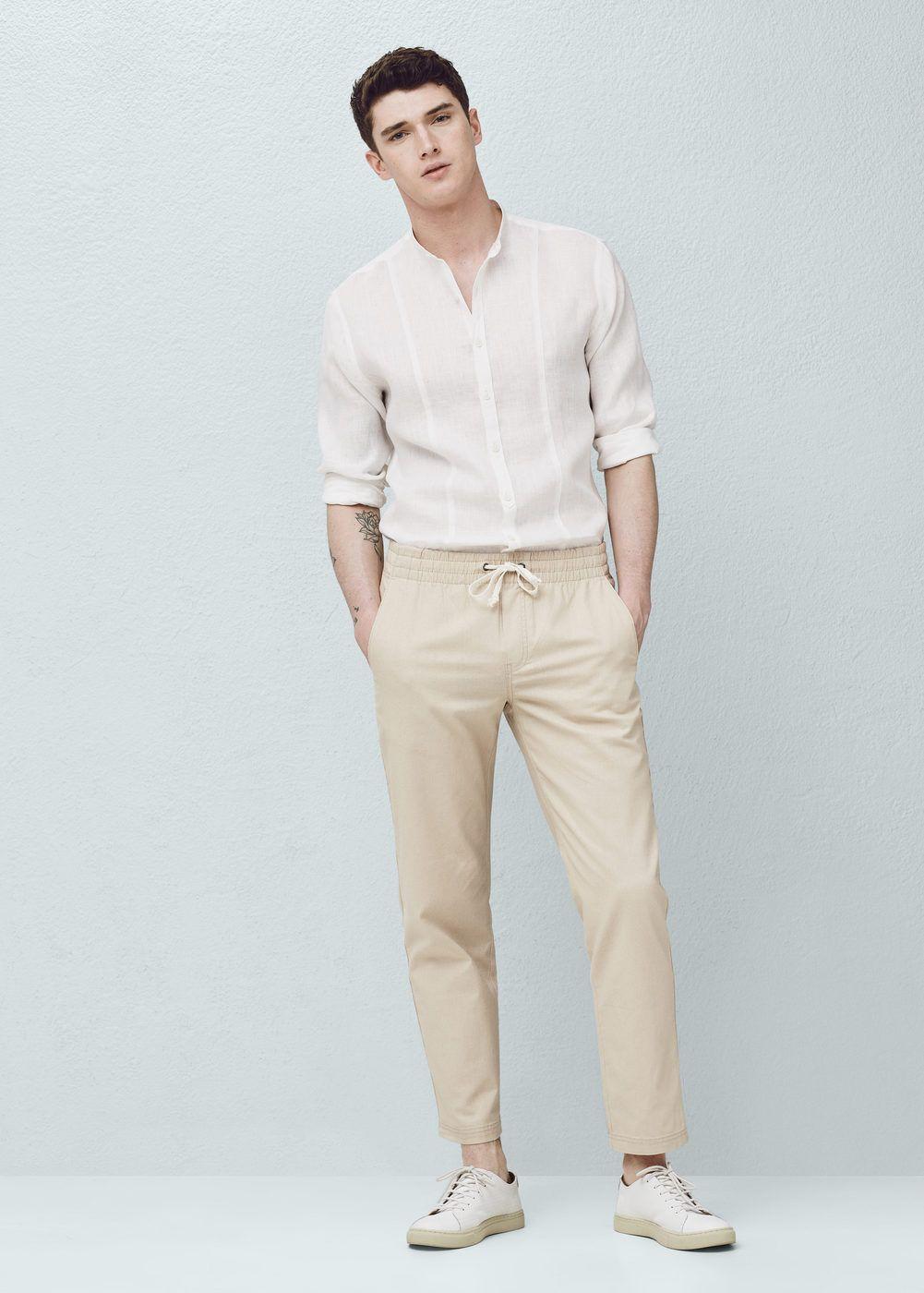 Linen-blend jogging trousers   MANGO MAN Taille Élastique, Robe Chemise En  Lin, 7eb753bfad9f