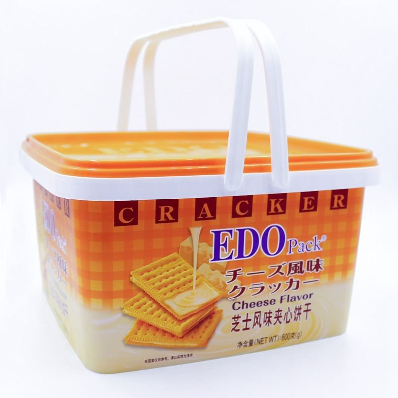 3L EDO Custom IML Plastic Cracker Containers With Two Handles,Maker Of  Plastic PP Biscuit