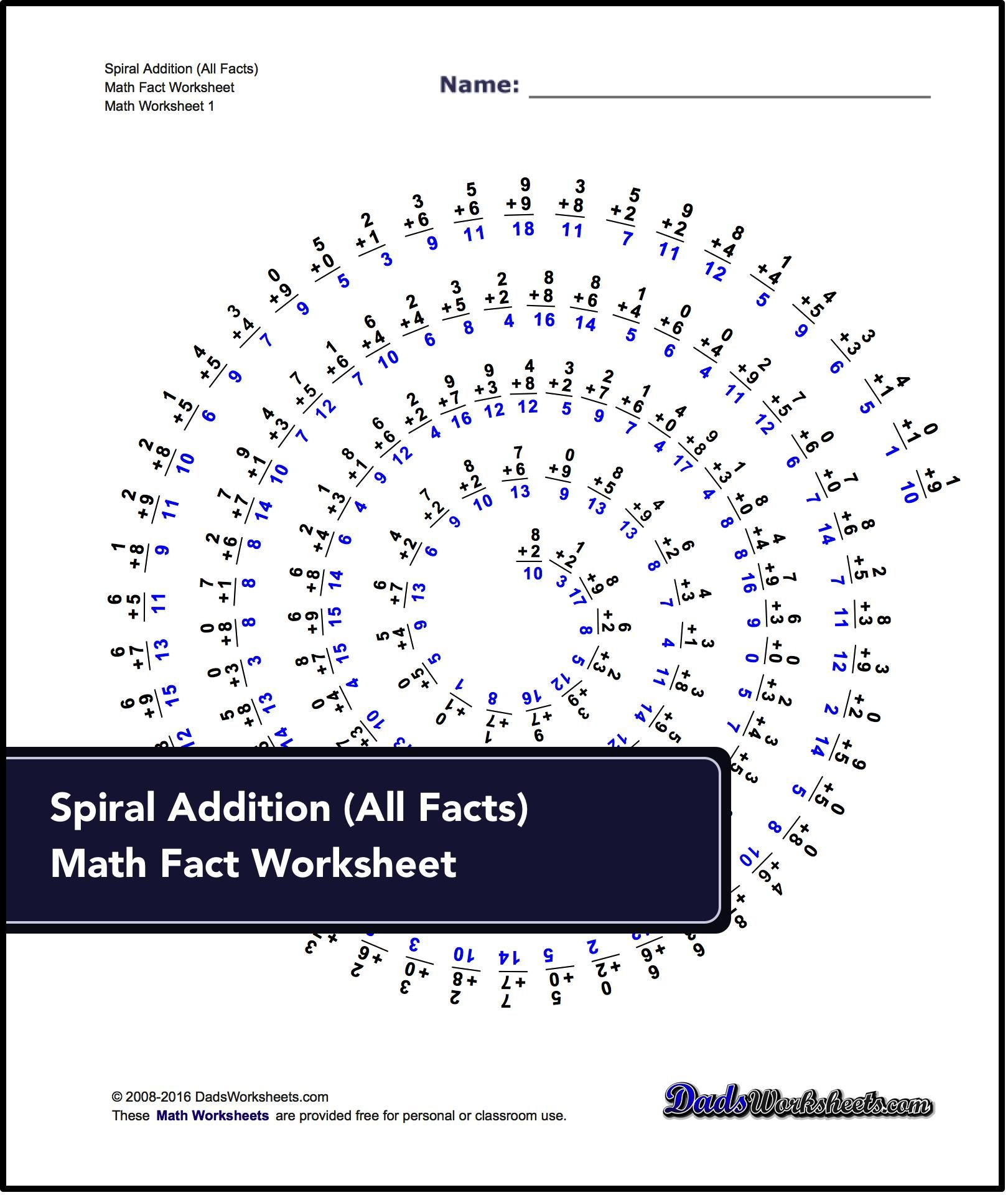 Addition Worksheets Spiral Addition Facts