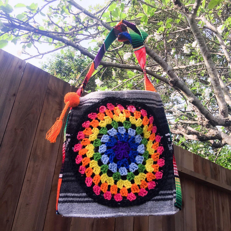 Boho mexican blanket crochet bag, crochet mandala bag ...