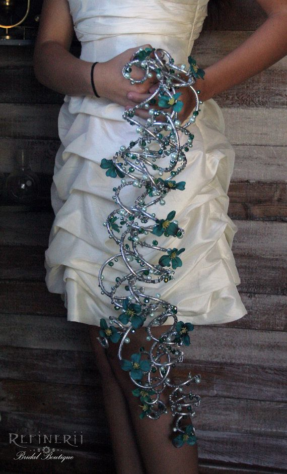 Crystals and Pearls Trailing Metal Bouquet with Sea Green Silk Flowers