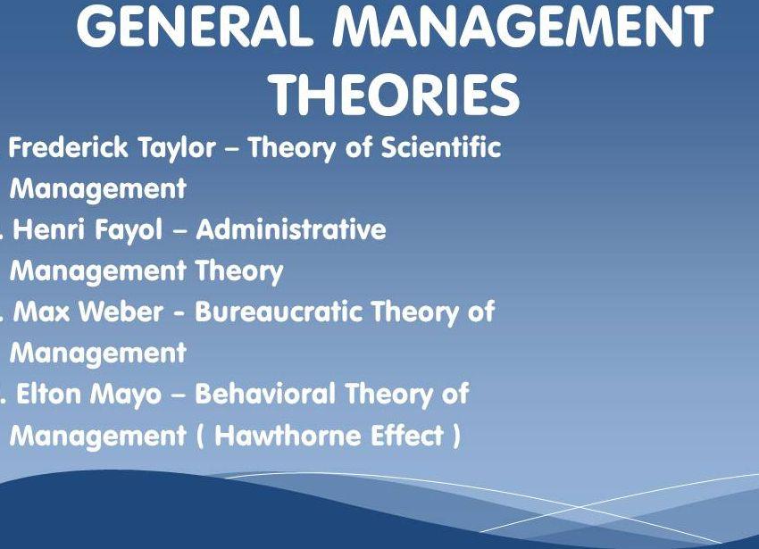 General Management Theories Scientific Management General Management Administrative Management