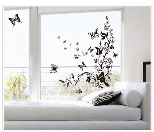 Wall Sticker Decal Yyone Large Black Flowers Butterflies Diy
