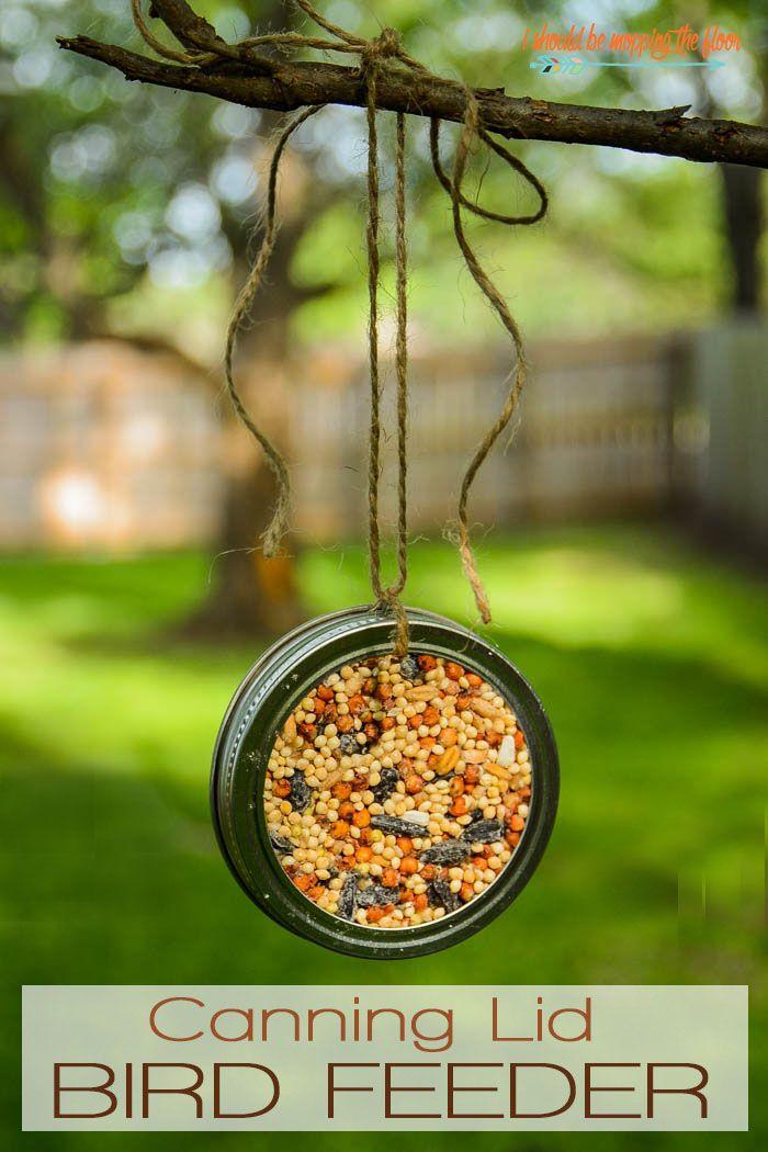 Mason Jar Lid Bird Feeder #masonjardiy