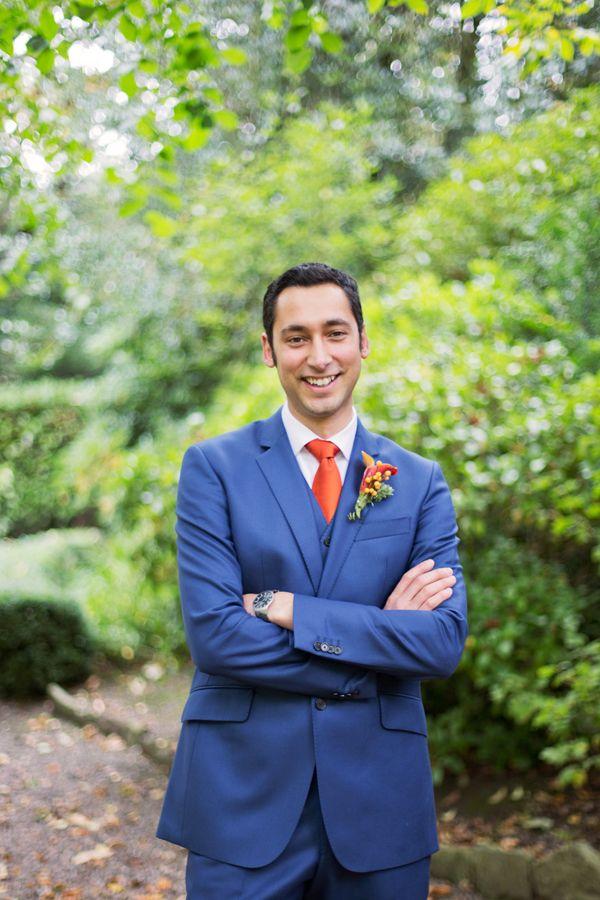 Wedding Blue Suit Orange Tie Groom Www Malinwidstrand