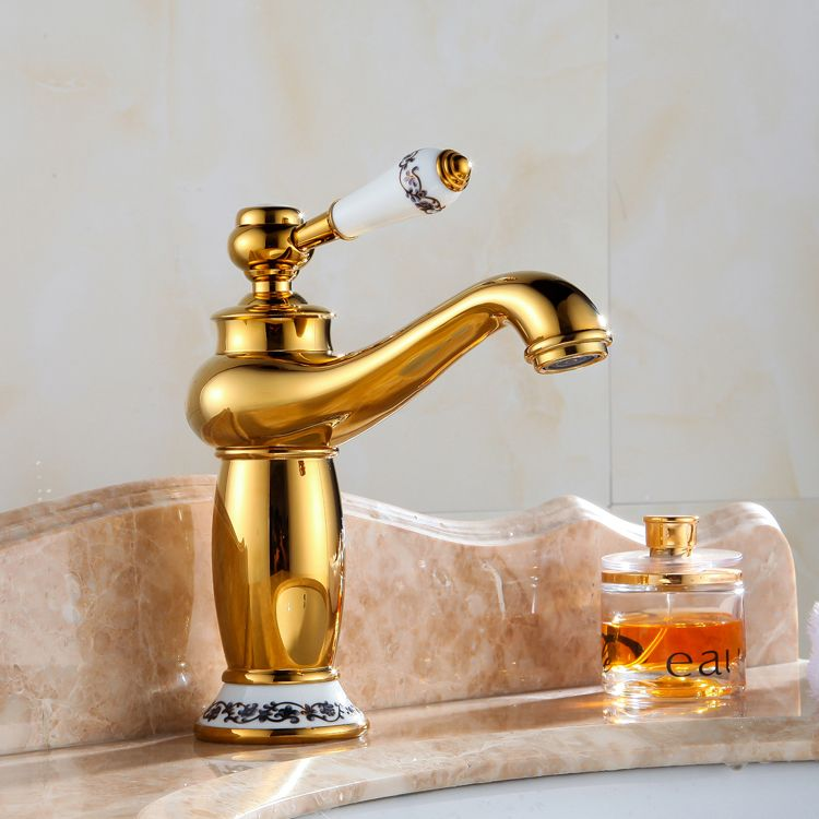 Antique Basin Gold Plated Gold Faucet Fashion Copper Hot And Cold Bathroom Beightening Blue And White P Gold Faucet Bathroom Fixtures Countertop Basin Bathroom