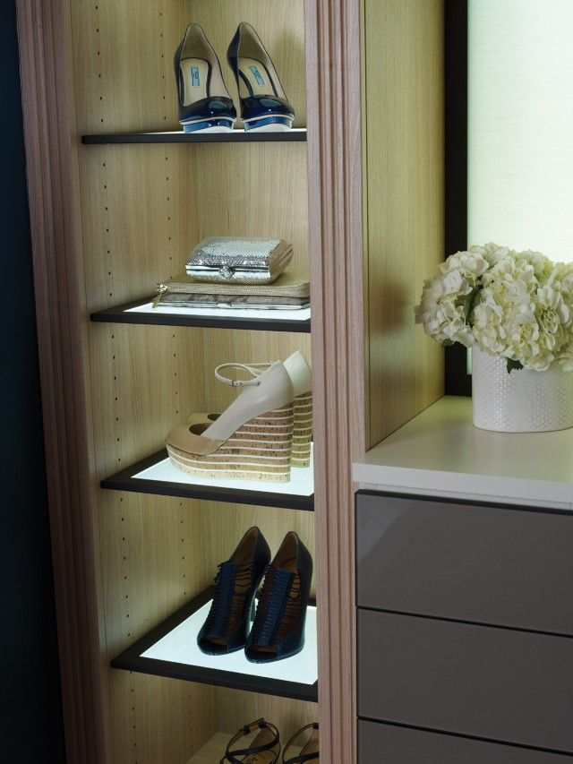 California Closets DFW Luxury Walk In   Lighted Shelves