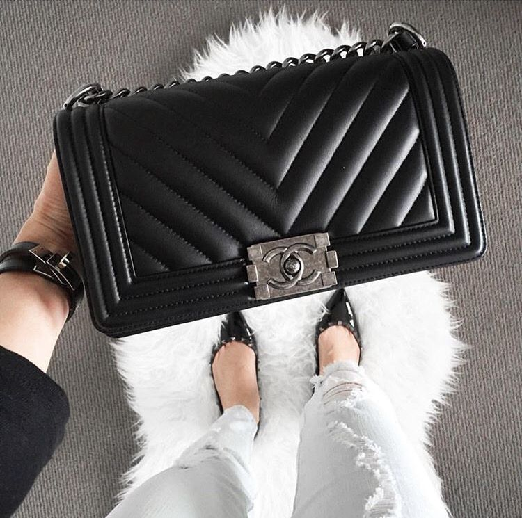 Chanel Boy Chevron Black bag is a must have!!!!  2c6ddc79b