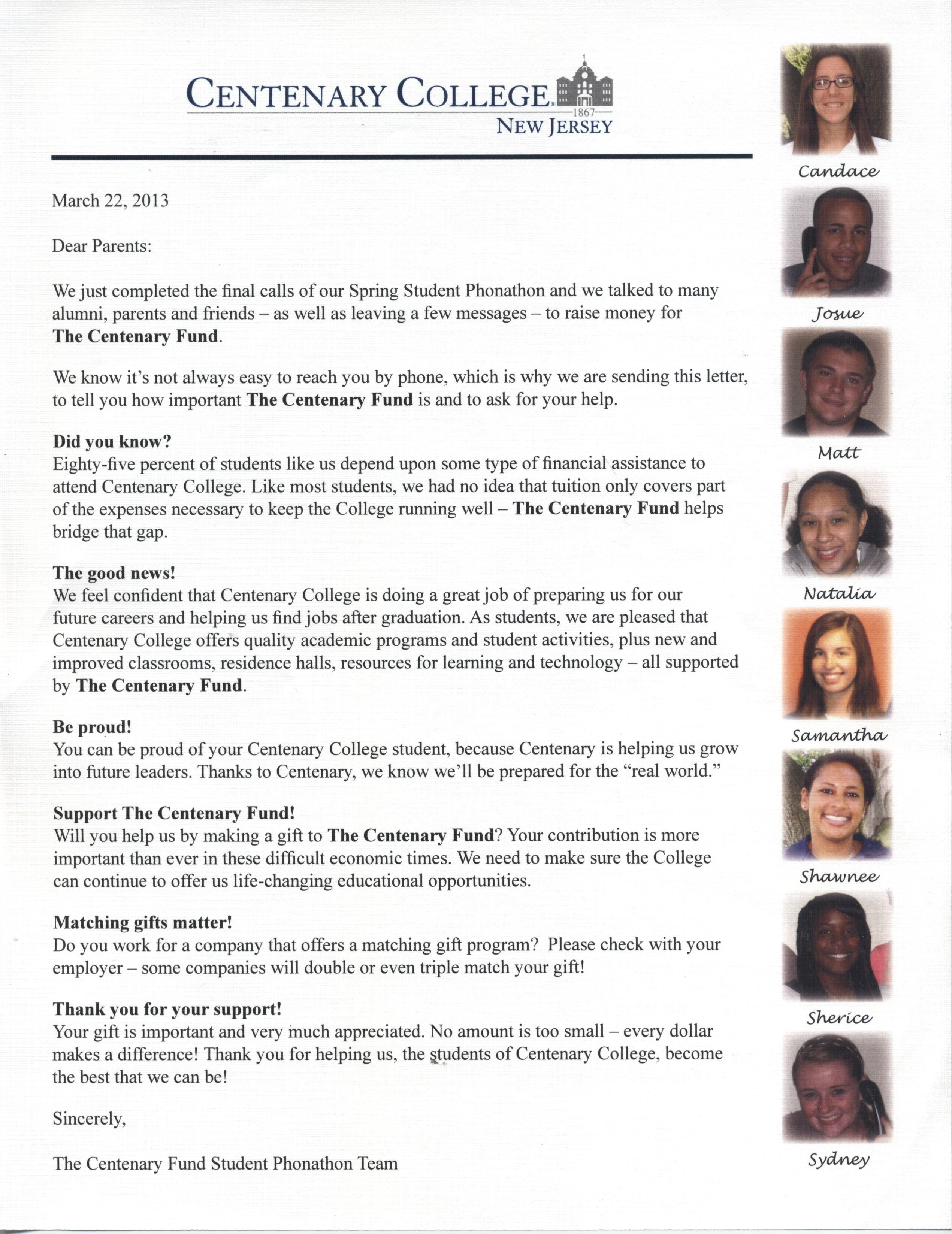 Parent letter from phonathon students - Centenary College