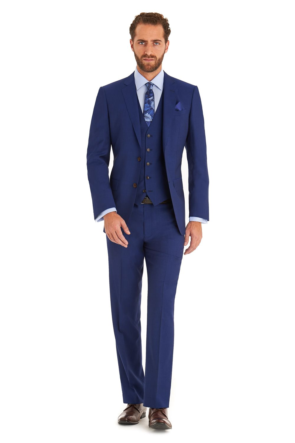 Moss 1851 Tailored Fit Bright Blue 3 Piece Suit   Jo & Gary ...