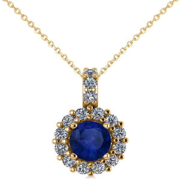 Allurez 14kt Yellow Gold Blue Sapphire & Halo Diamond Pendant Necklace nRR7Bmw
