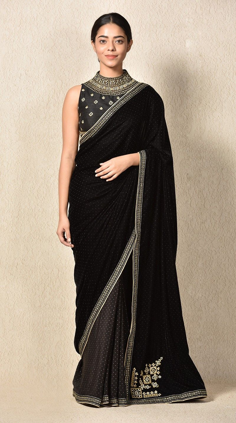 e6ef427ffd2abb Buy Indian Designer Black Embroidered Velvet Saree With Stitched Blouse  Online
