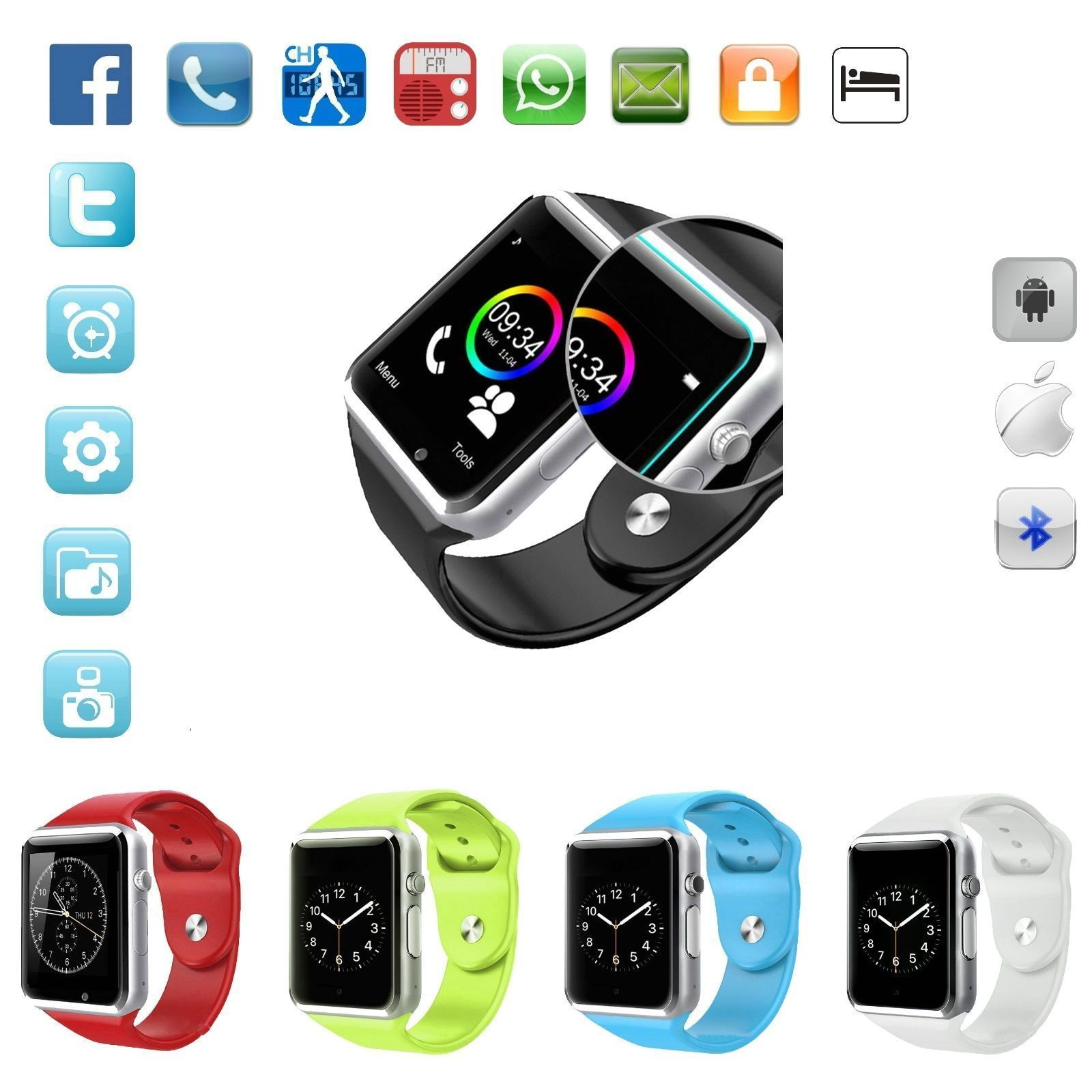 Bluetooth Smart Watch Metal Case For iOS iPhone 6s Android