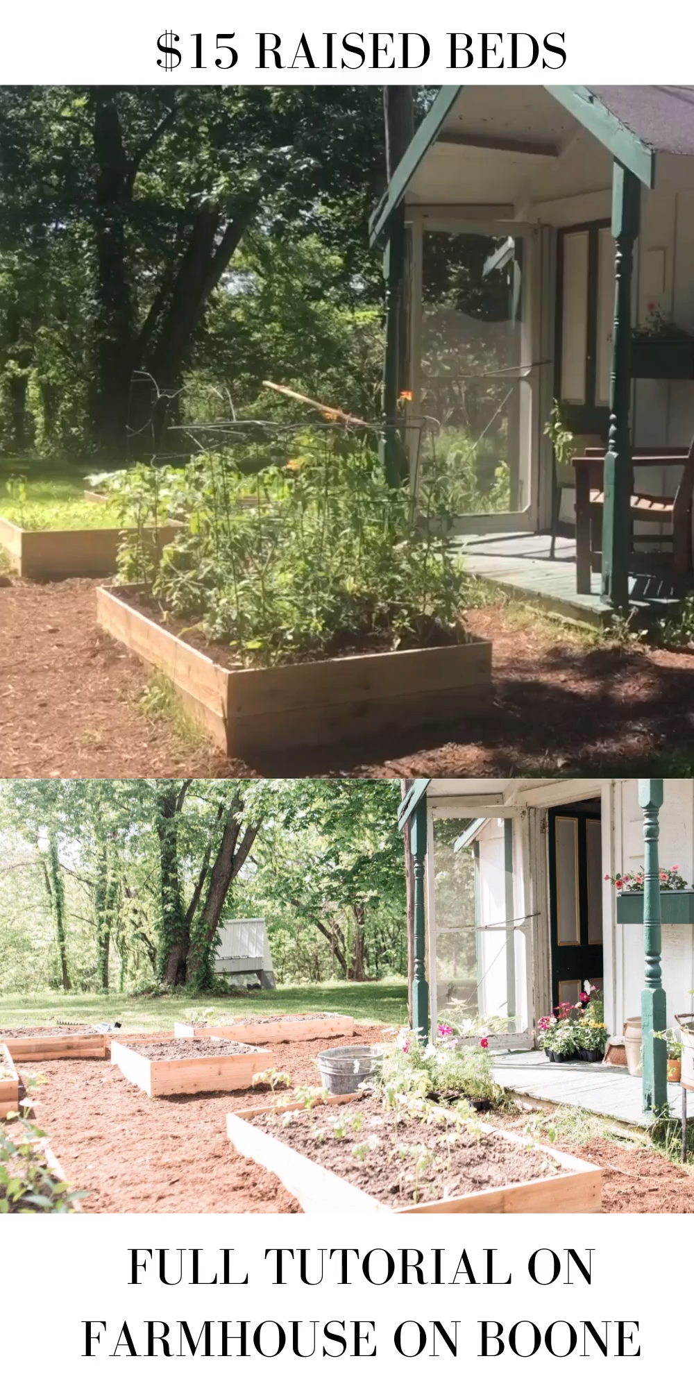 Learn how to build a raised garden bed for less than $15 per box. With just a few materials and a little bit of time, you can put together these cheap raised garden beds. #raisedbeds #garden